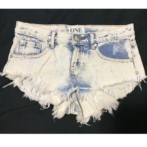 One X Teaspoon Frayed Cut Off Denim Shorts